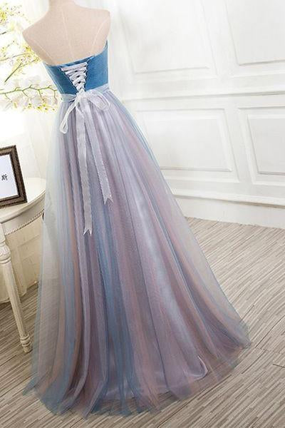 Elegant Tulle Long Vintage Sleeveless Sweetheart Strapless Blue Lace-up Prom Dresses
