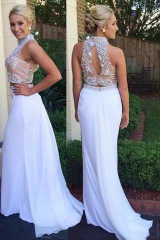 Fabulous Two Piece High Neck Mermaid White Prom Dress with Beading Open Back