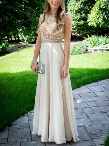Nectarean Bateau Sleeveless Floor Length Light Champagne Prom Dresses