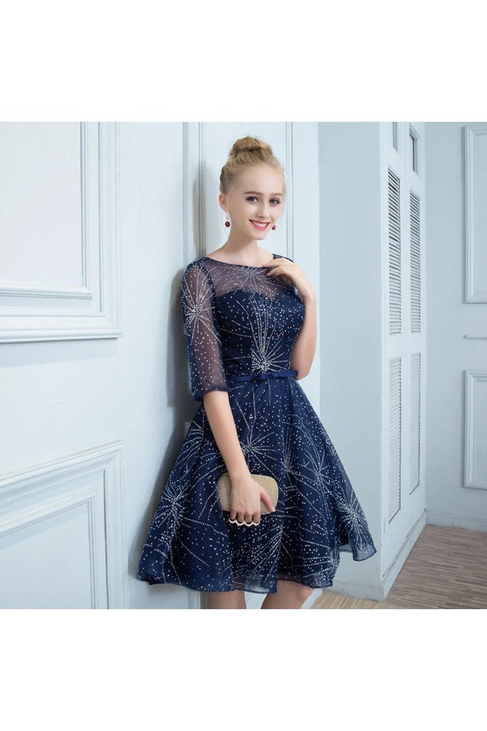 A Line Homecoming Dresses Short Half Sleeves
