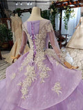 Gorgeous Long Sleeve Ball Gown Appliques Beads Lilac Quinceanera Dresses with Lace up