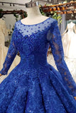 Elegant Royal Blue Long Sleeves Ball Gown Lace up Puffy Quinceanera Dress with Appliques