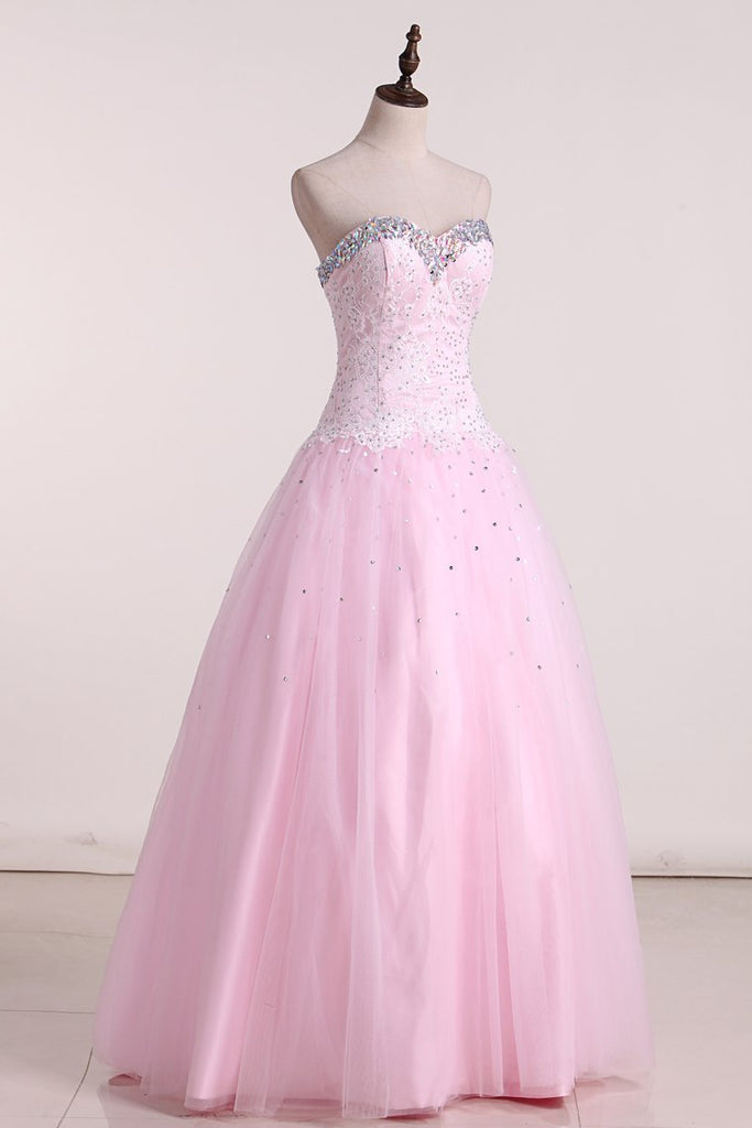 2019 Sweetheart Ball Gown Prom Dresses Tulle With Beading