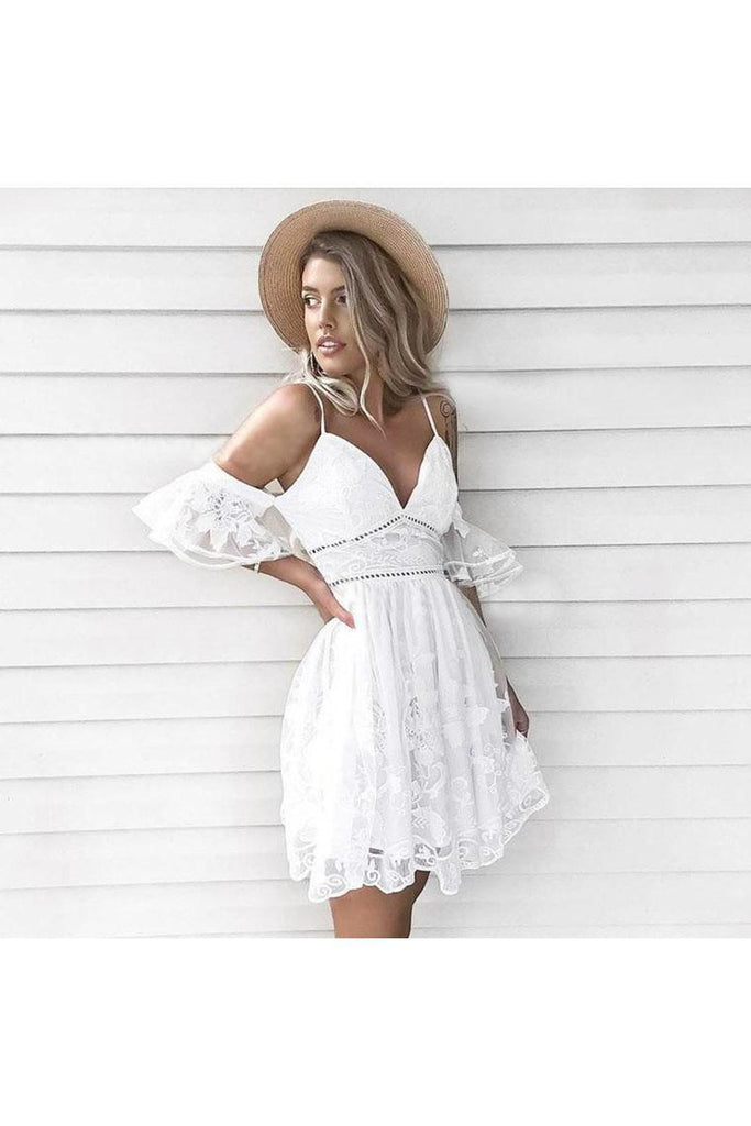 A-Line Spaghetti Straps Short White Lace Homecoming