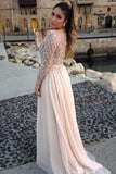 2019 Long Sleeves A-Line/Princess Bateau Beading Floor-Length Chiffon Evening