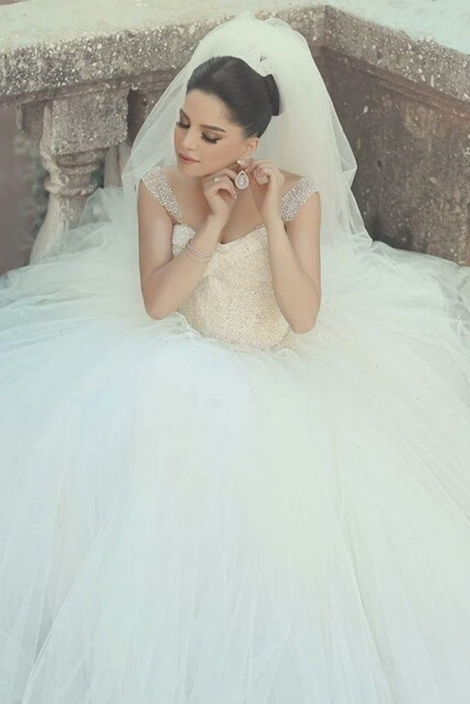 2019 Off The Shoulder Wedding Dresses A Line Tulle With Beading Floor Length