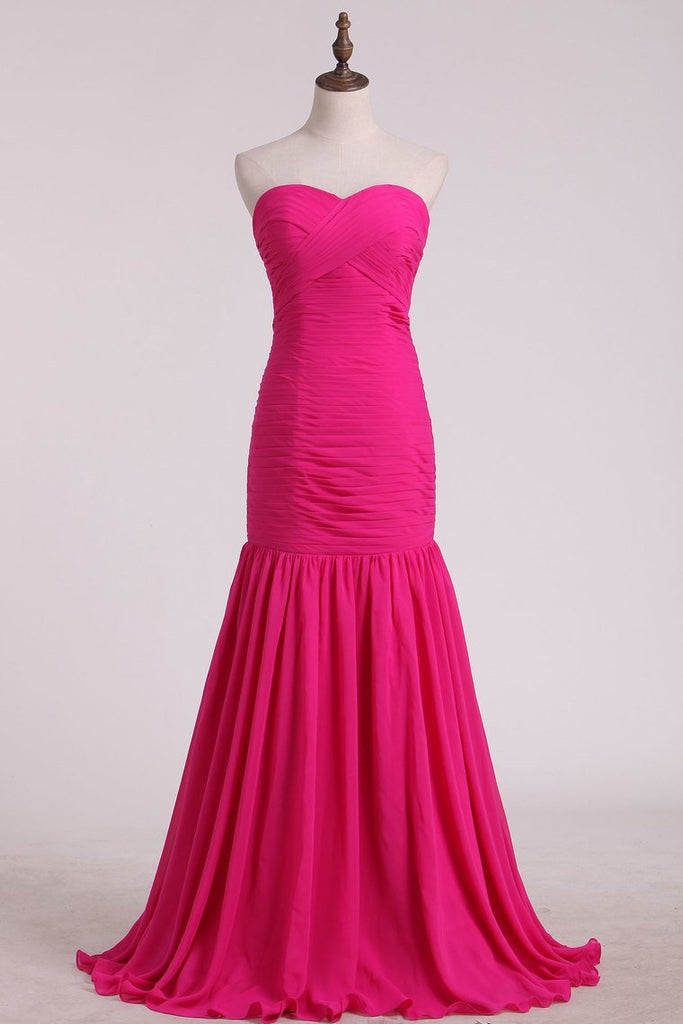 Fuchsia Sweetheart Ruched Bodice Bridesmaid Dresses Mermaid/Trumpet Chiffon Floor Length