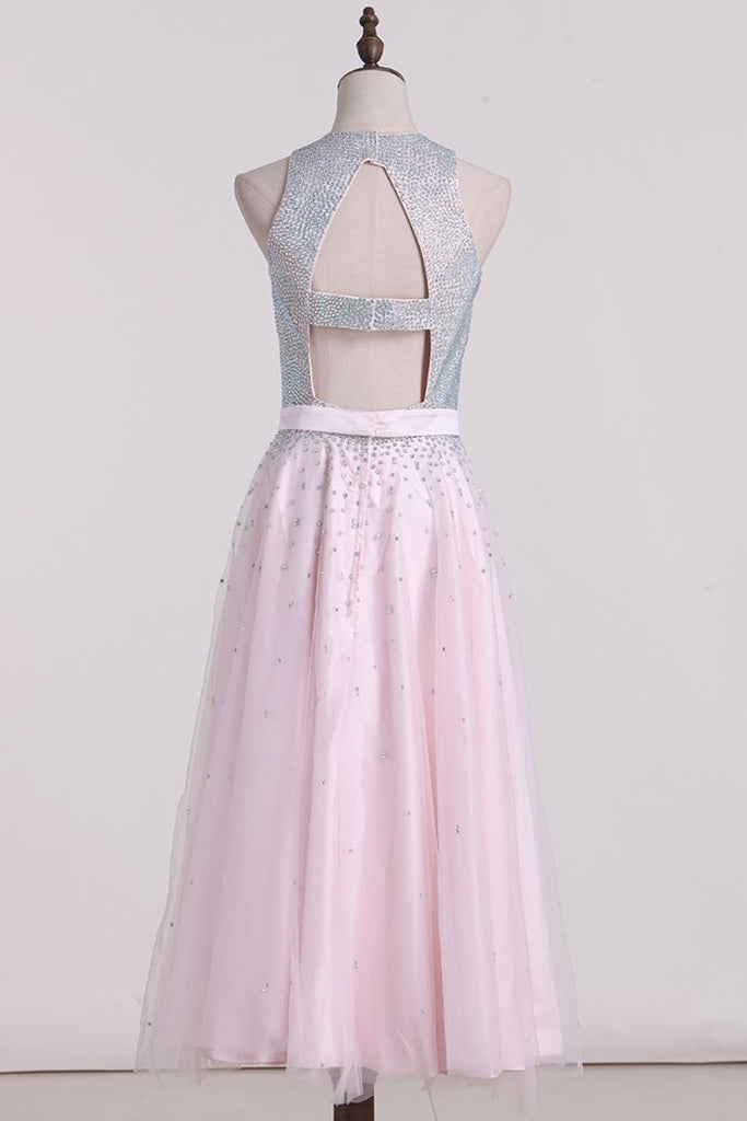 2019 Scoop Beaded Bodice A Line Tulle Tea Length