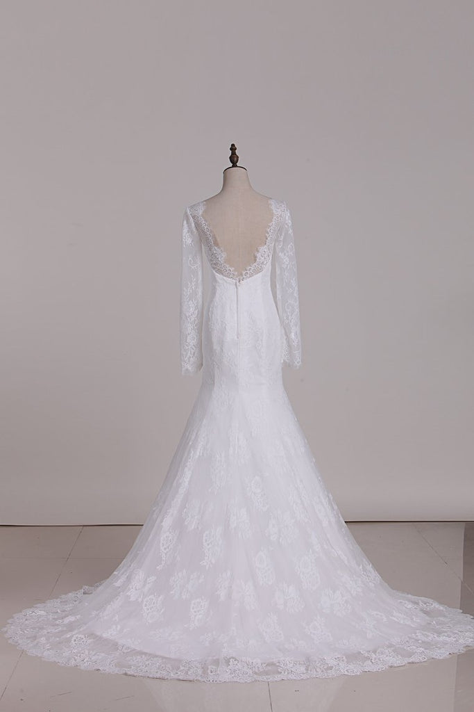 Mermaid Long Sleeves Tulle Wedding Dresses With Applique