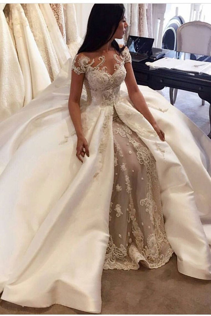 2019 Luxury Wedding Dresses A-Line Scoop Cathedral Train Satin And Tulle With