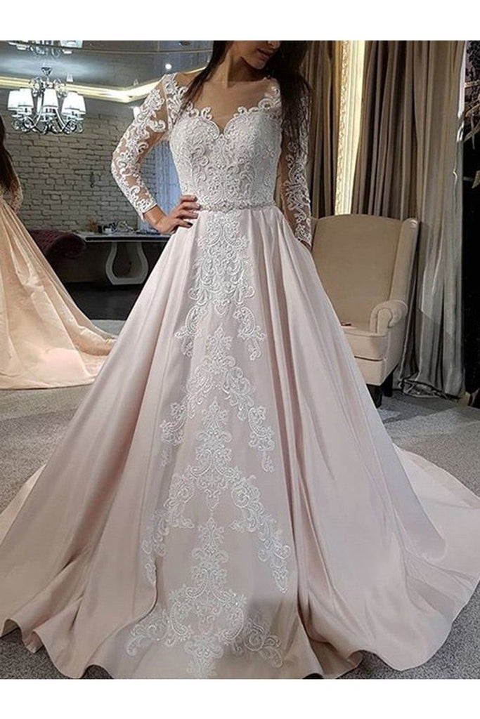 A-Line/Princess Satin Applique V-Neck Long Sleeves Sweep/Brush Train Wedding