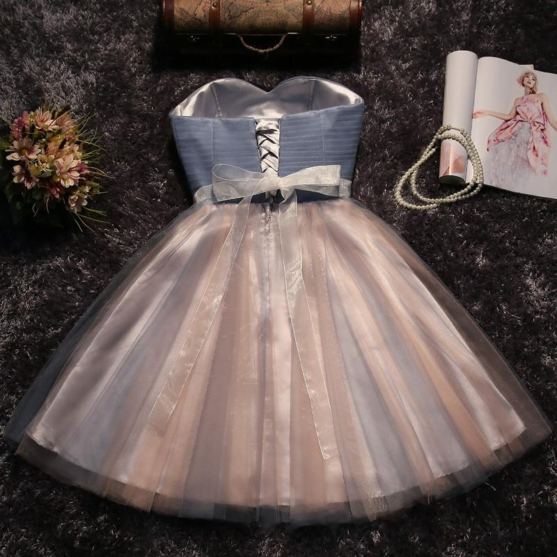 Cute grey/black Strapless Short Sleeveless Prom Dress Homecoming Dress Bridesmaid Dress