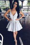 Light Lavender A-Line Deep V Neck Short Sleeveless Appliques Pleats Cheap Homecoming Dress