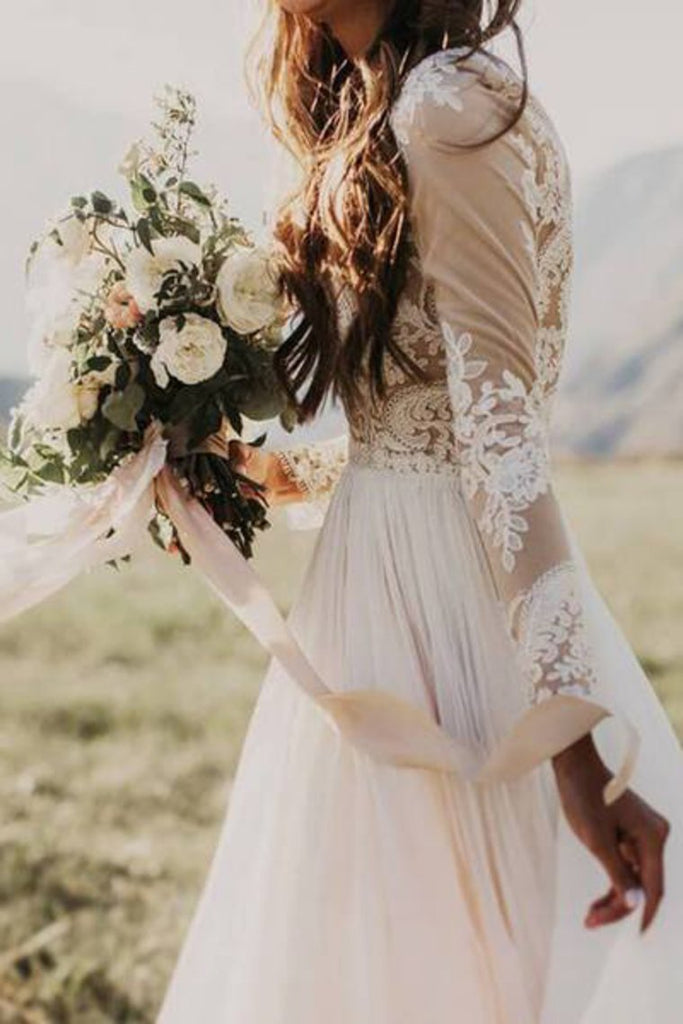 Long Sleeve Rustic Wedding Dresses Lace Appliqued Ivory Beach Wedding