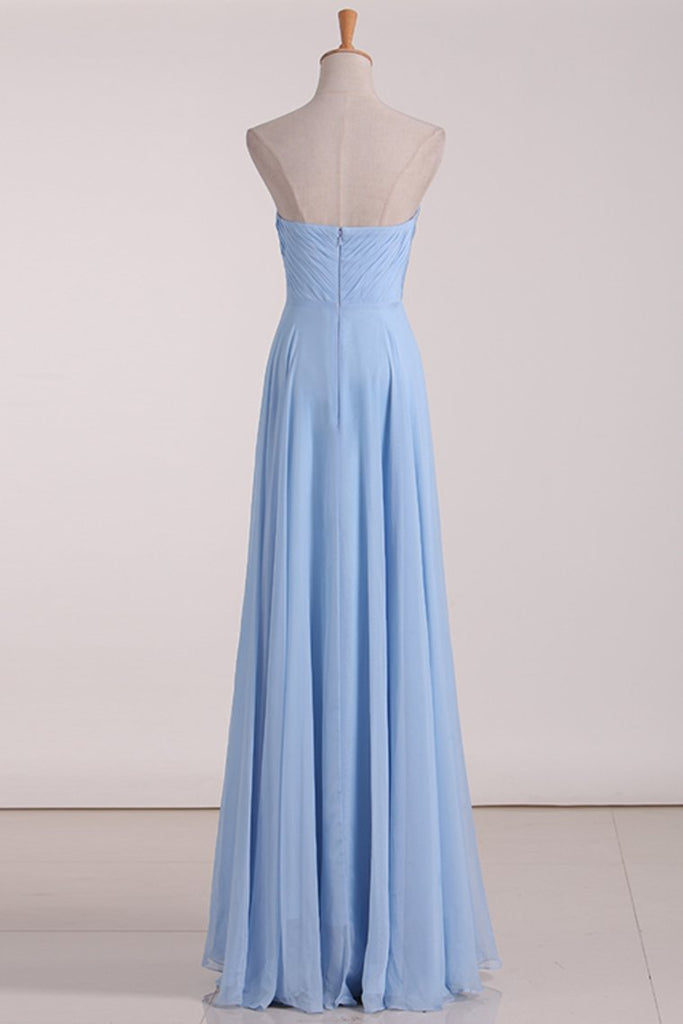 2019 Bridesmaid Dresses Sweetheart A Line Chiffon With Ruffles Floor Length