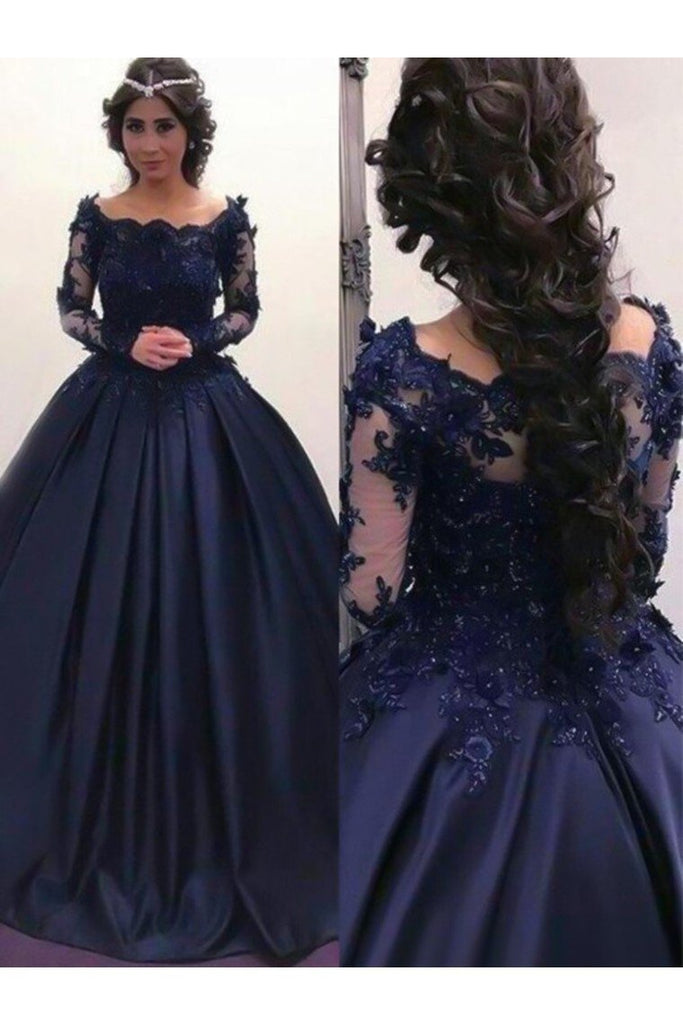 Ball Gown Bateau Long Sleeves Sweep/Brush Train Applique Satin