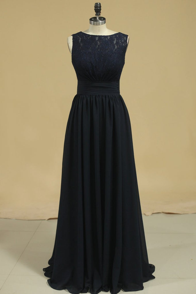 Open Back Scoop A Line Chiffon & Lace Bridesmaid