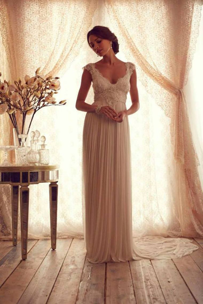 2019 V Neck Cap Sleeves Wedding Dresses Chiffon Floor Length With Applique