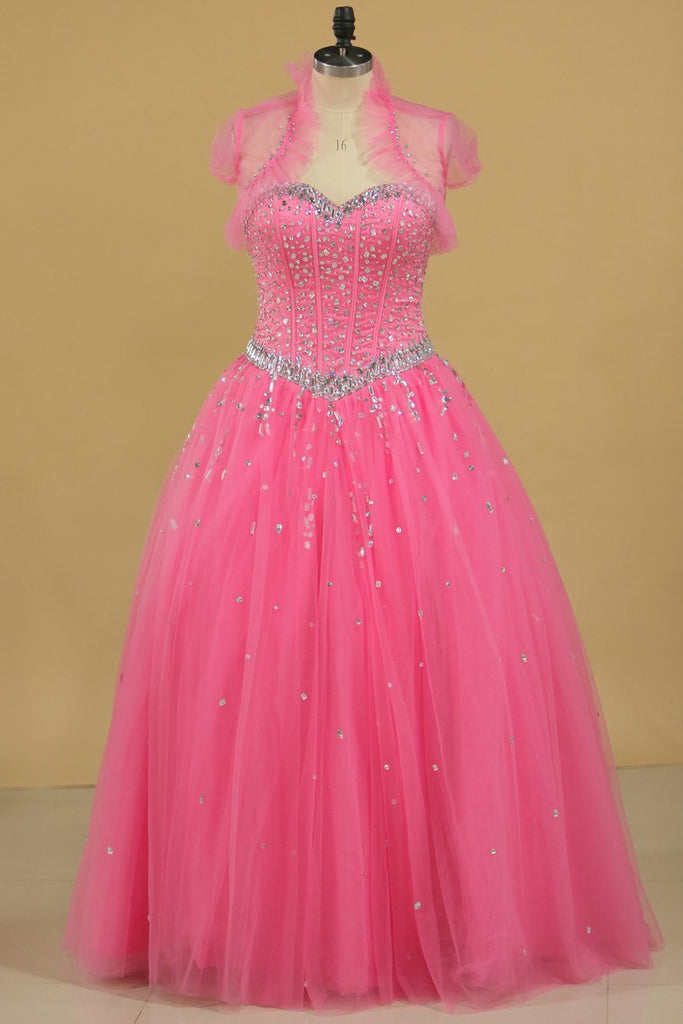 2019 Ball Gown Beaded Bodice Quinceanera Dresses Sweetheart Tulle Floor Length