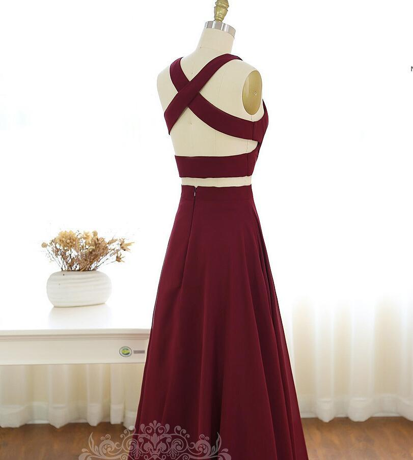 Fashion Long V-Neck Two Piece Floor Length A-Line Sleeveless Halter Prom Dresses