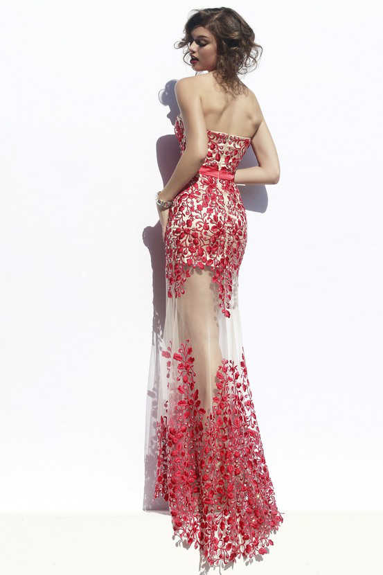 Fabulous Sweetheart Strapless Floor-Length Sheath Prom Dresses with Lace Pearls Sash