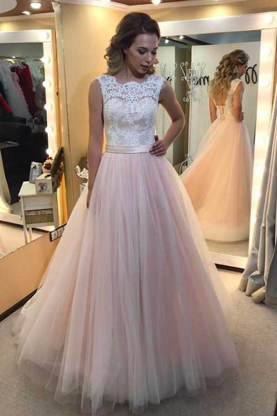 Cute pink tulle white lace round neck pricess dress prom dress for
