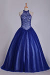 2019 Dark Royal Blue Halter Quinceanera Dresses Ball Gown Tulle With Beads & Rhinestones