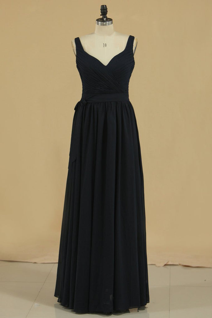 Bridesmaid Dresses A Line Straps Ruched Bodice Chiffon Floor Length