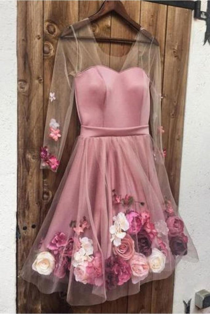 A-Line V Neck Hand-Made Flower Homecoming Dress Unique Short Long Sleeve Prom