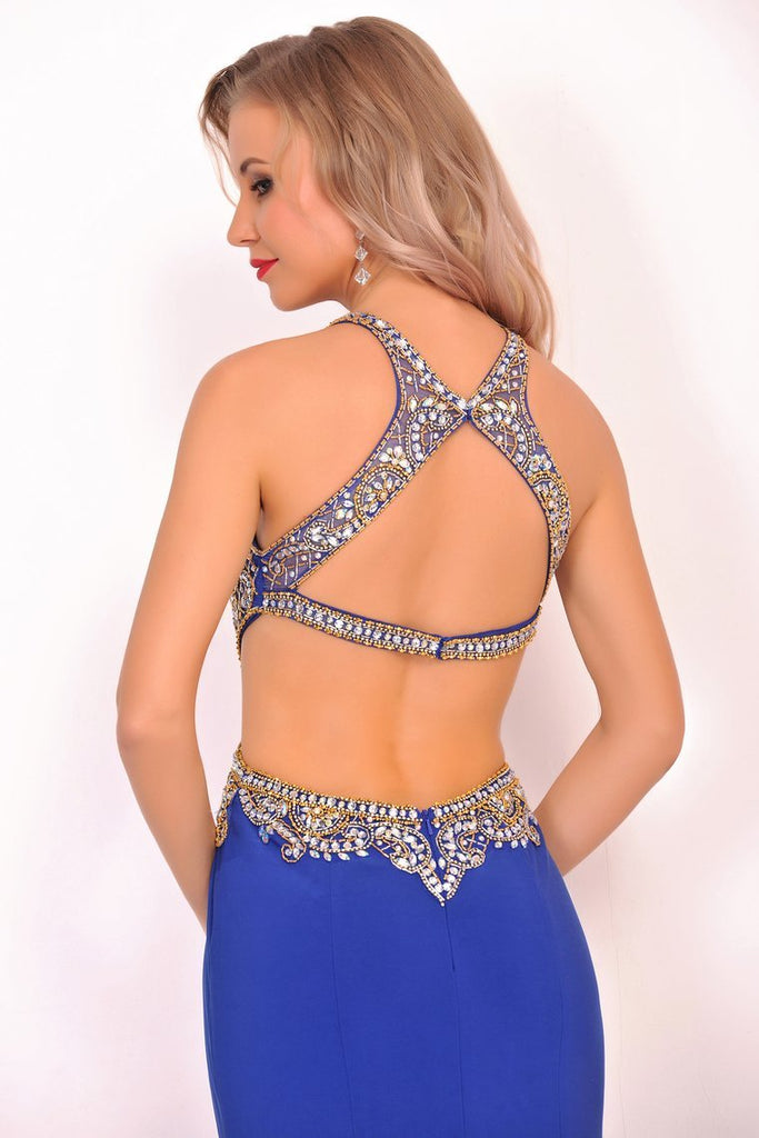 2019 Sexy Open Back Scoop Mermaid Prom Dresses Spandex With Beads