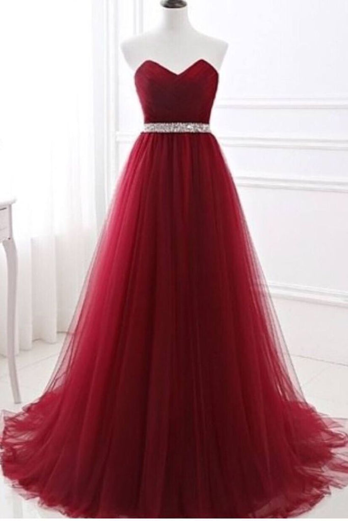 2019 Prom Dresses A-Line Sweetheart Sweep/Brush Tulle Zipper Back High Waist