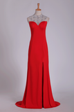 2019 Red High Neck Prom Dresses Sheath/Colum With Beading Sweep