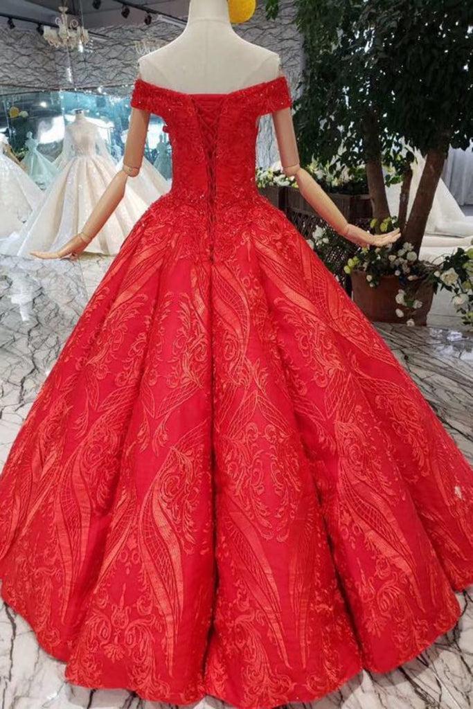 Red Off The Shoulder Lace Appliques Beads with Lace up Prom Dress Quinceanera Dresses