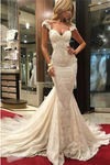 Gorgeous Scoop Illusion Back Cap Sleeves Court Train Lace Sexy Mermaid Wedding Dresses