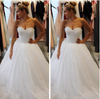 Cute Sweetheart A-line Strapless Beaded Tulle Ball Gown Wedding Party Dresses