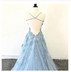 Chic Spaghetti Straps Blue Lace Tulle Long Prom Dresses Evening Dress With Lace Applique