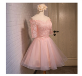 Glamorous A-line Off-the-shoulder Coral Organza Half Sleeves Homecoming Dress With Appliques