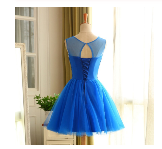Royal Blue Short Beading Open Back Homecoming Dress