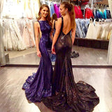 Gorgeous Sexy Scoop Neckline Backless Long Mermaid Sequin Prom Dresses
