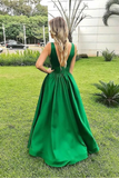 Elegant A Line Sexy V Neck Long Satin Backless Prom Dresses Evening STBPXJT6JHK
