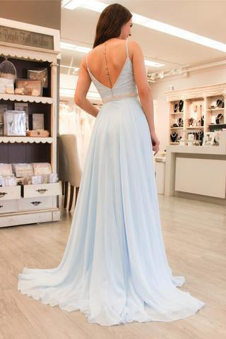 Gorgeous Straps Light Sky Blue Chiffon V-Neck Backless Sleeveless A Line Long Prom Dress