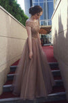 Gorgeous A-Line Backless Cap Sleeves Scoop Tulle Brown Long Prom Dresses