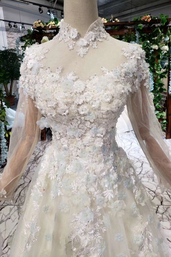 2019 Prom Dresses Tulle High Neck Long Sleeves Handmade