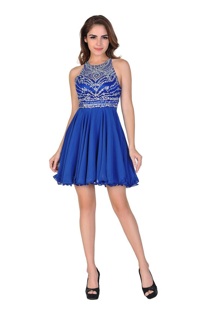 2019 A Line/Princess Halter Homecoming Dresses Tulle & Chiffon Beaded