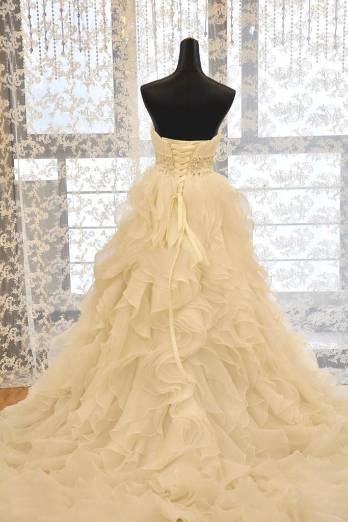 2019 Sweetheart Wedding Dress A Line Organza With Beads And Ruffles
