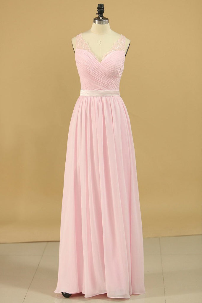 Chiffon V Neck With Ruffles And Sash Bridesmaid Dresses A Line