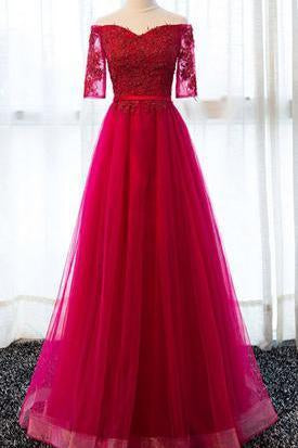Elegant Half Sleeve Tulle Appliques Sweetheart Red A-Line Floor-Length Prom Dresses