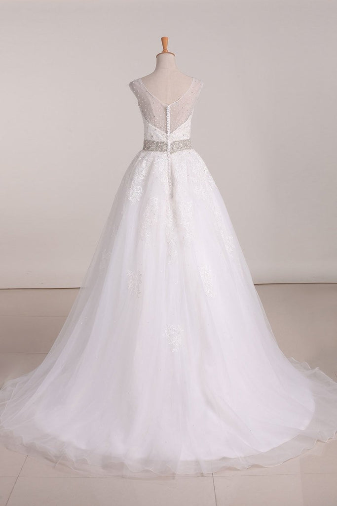2019 Organza Scoop A Line With Applique And Beads Court Train Wedding Dresses