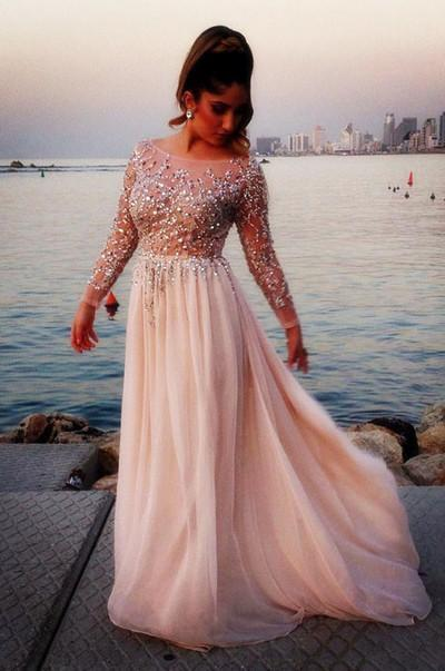 Long Sleeve Fashion Chiffon Long Scoop Pink A-Line Beads Custom Sexy Prom Dresses
