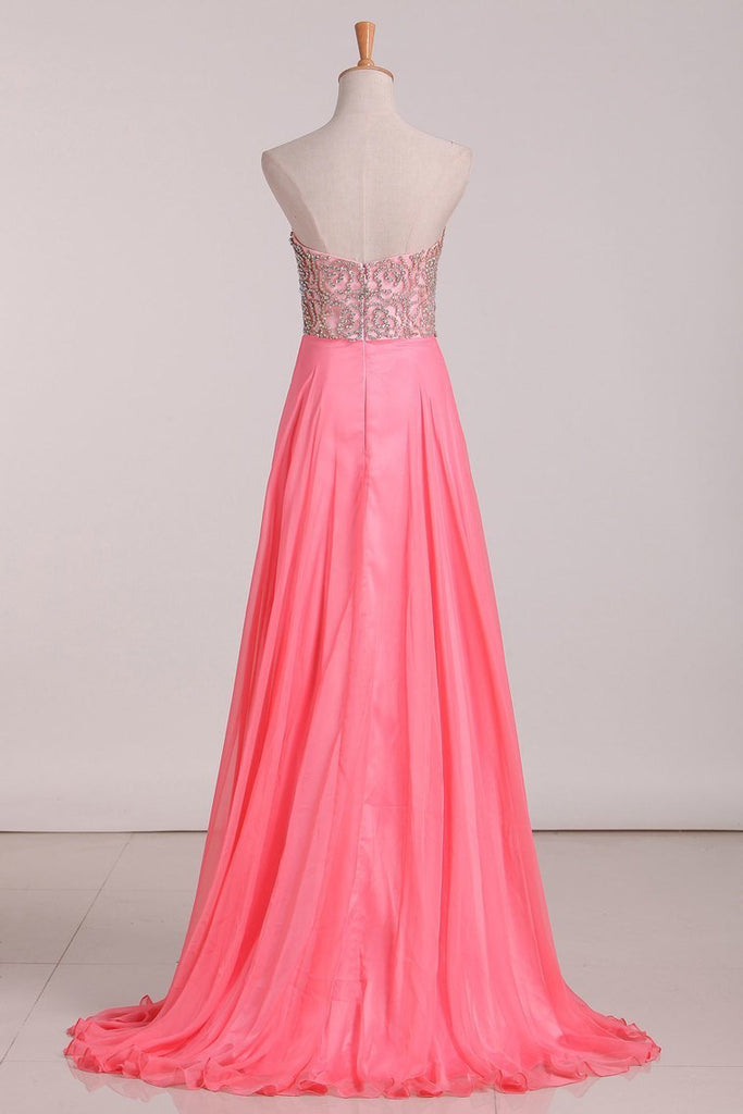 2019 A Line Prom Dresses Sweetheart Beaded Bodice Chiffon Sweep Train